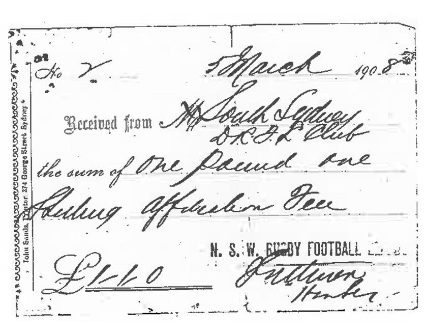 The receipt which lists Souths as the number two affiliated club with the NSW Rugby League - signed by the game's founder James J. Giltinan.