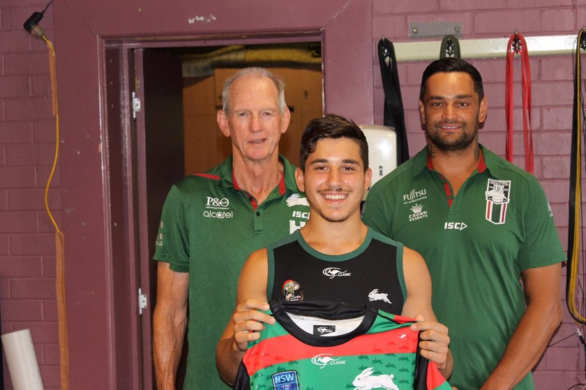 Peter Mamouzelos with Wayne Bennett and John Sutton