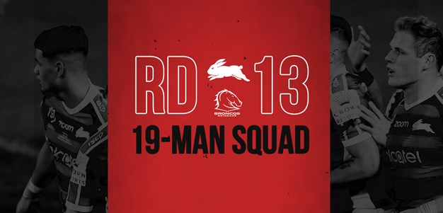 Rabbitohs update 19-man squad for round 13