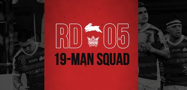 Rabbitohs update 19-man squad for Round Five