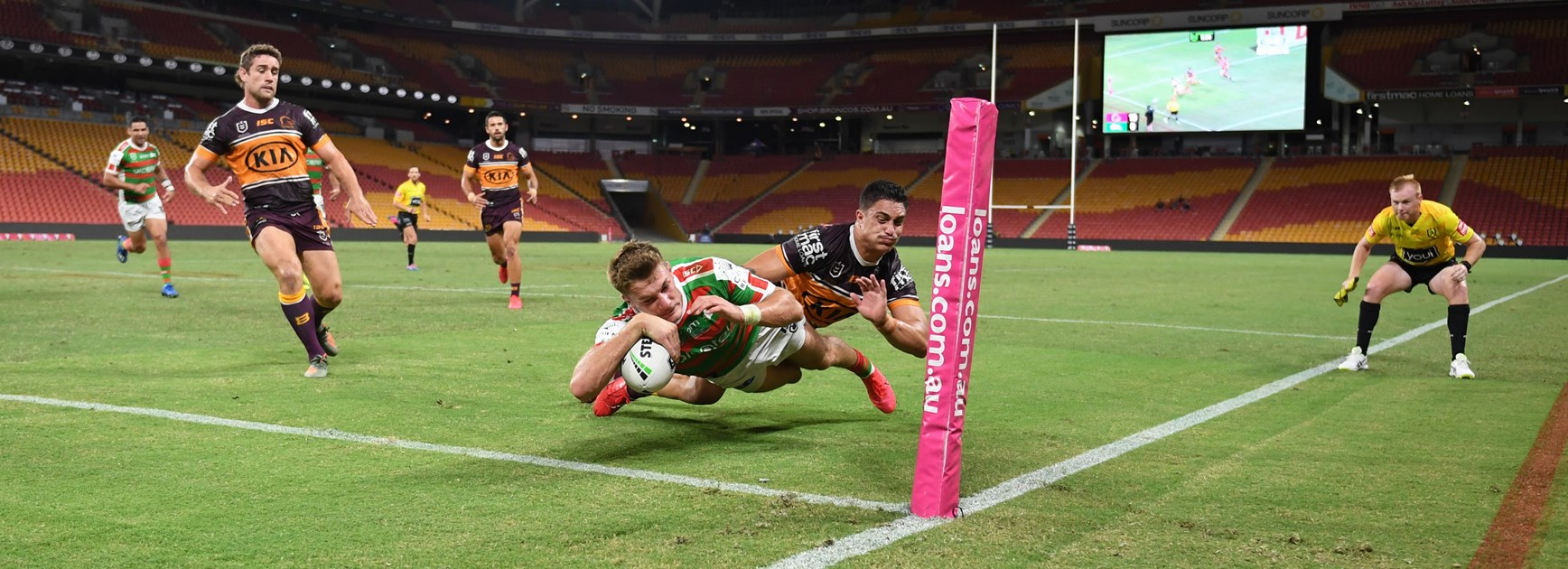 Broncos ride Staggs hat-trick to victory over Rabbitohs