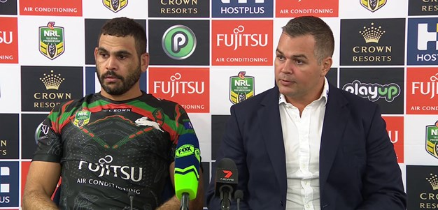 Seibold and Inglis speak to the media after Dragons win
