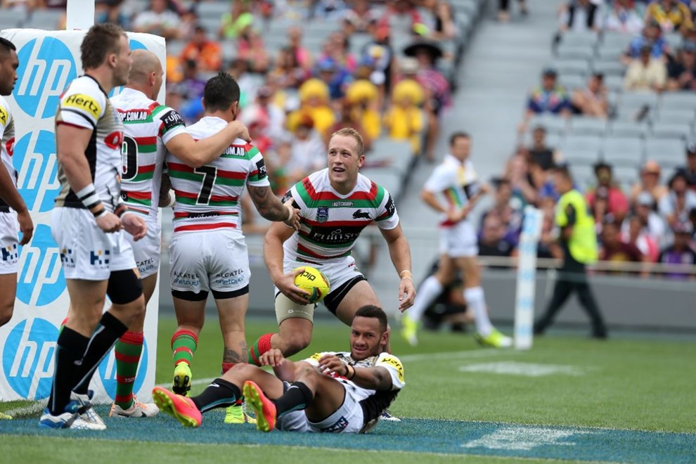 Digital Image Grant Trouville  © nrlphotos : Jason Clark scores  : Auckland 9s Day one, Saturday the 31st of January 2015.