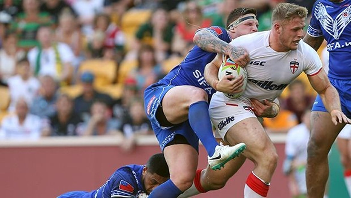 Digital Pic by: Robb Cox © NRL Photos : Tom Burgess  : Representative Rugby League, England V Samoa, 4 Nations Tournament, Game 1, 25th October 2014, Brisbane.