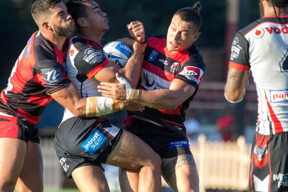 Brett Greinke (left) & Tyrell Fuimaono in defence for the Bears - Intrust Super Premiership | Round 8 | North Sydney Vs New Zealand | North Sydney Oval | 23/04/2017. Photo Steve Little www.redandblackzone.com.