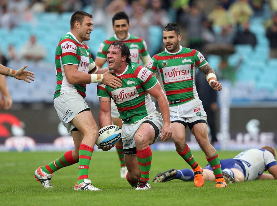 David Tyrrell scores a try : Digital Image by Robb Cox ©nrlphotos.com: :NRL Rugby League - Bulldogs V Rabbitohs at ANZ Stadium, Homebush. Friday April 3rd 2015.