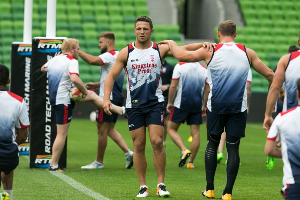 Sam Burgess during an England Rugby League Team captains run at AAMI Park Melbourne Australia. Thursday 26 October 2017. Copyright Photo. Brendon Ratnayake / www.photosport.nz