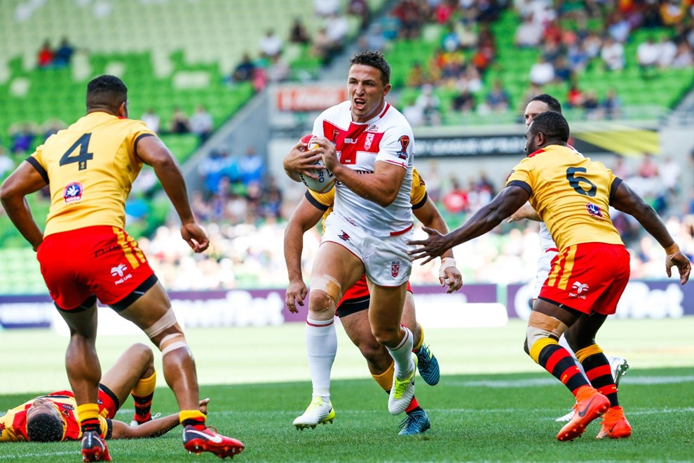Sam Burgess running with the ball during the England Vs Papua New Guinea 2017 Rugby League World Cup Quarter Final match at the Melbourne Rectangular Stadium, Melbourne Australia. Sunday 19 November 2017. Copyright Photo Brendon Ratnayake / www.photosport.nz